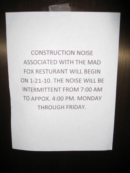 Mad Fox - Spectrum Construction Elevator Sign