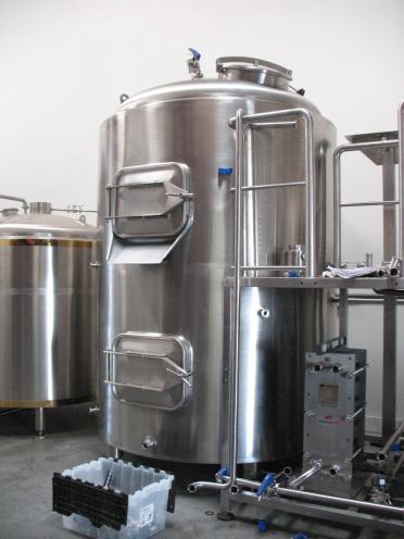 Brewhouse combi-tank - mash tun above and hot liquor tank below